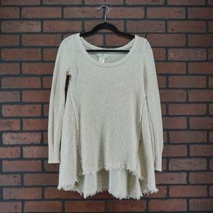 RUBY MOON Thermal Frayed Long Sleeve Top Size XS